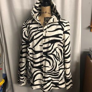 Sandra Woman zebra print zip hooded jacket 20W